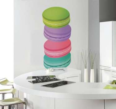 Multicoloured food sticker showing four different coloured macaroons stacked on top of each other, for those with a sweet tooth to add some colour to their kitchen. Decorate the walls of your home originates and fun way to lose usual boring white.