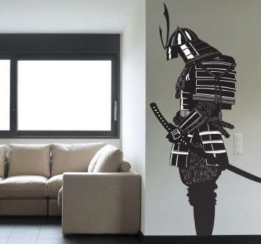 Magnificent Japanese wall sticker with a stunning monochrome design of a Samurai to give your home a striking and alternative feature. Customise the rooms of your home with this warrior dressed in classical armour holding his katana.