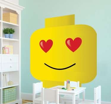 Vinilo decorativo smiley lego enamorado