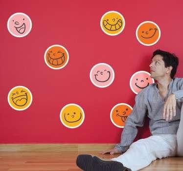 Smileys gekleurd sticker