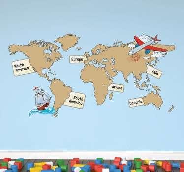 Wereldkaart muursticker voor kinderen