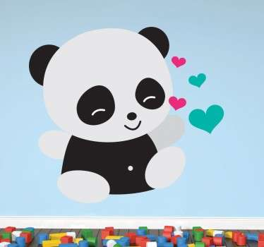 A happy and cute baby panda wall sticker that is sharing some love. This animal wall sticker will look great in your children's bedroom.