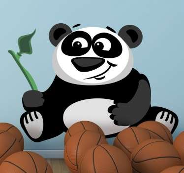 Kids sticker of a hungry and happy panda holding a bamboo leaf.