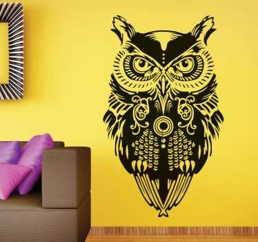 Original decorative sticker of an owl watching you, looks great on the walls of your home. Extremely long-lasting material.