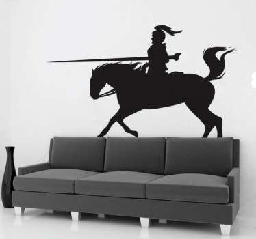 The silhouette knight wall sticker features a medieval knight with armour riding his horse into battle with a long sword. The silhouette wall sticker is available in up to 50 colours.