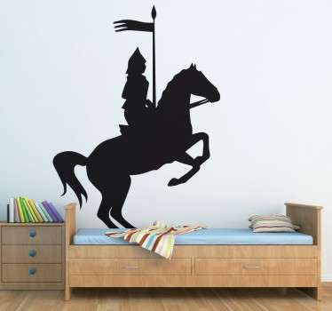 Adesivo silhouette cavaliere con il suo cavallo