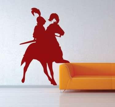 Silhouette ridder paard sticker