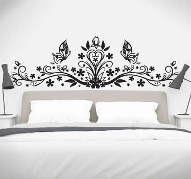 Floral Wall Art - Beautiful decorative headboard sticker to decorate your master bedroom, consisting of a delicate floral art design with butterflies.