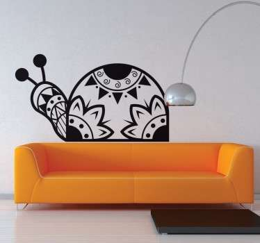 A patterned snail sticker created through various shapes that suggest a tribal and floral style.