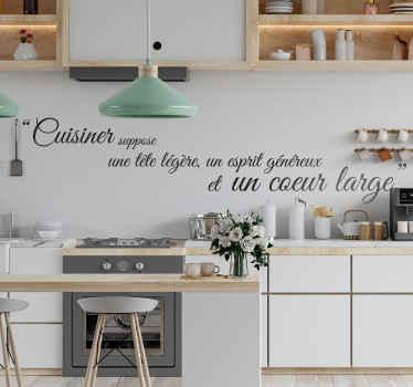 Sticker citation cuisine esprit coeur