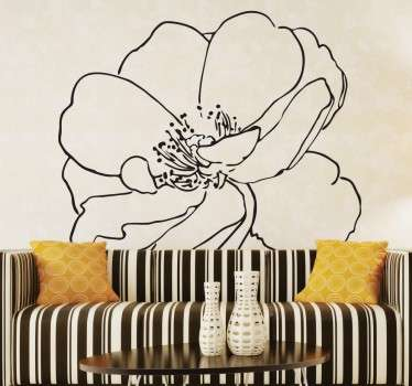 Wall decal of a budding flower designed with artistic black lines.
