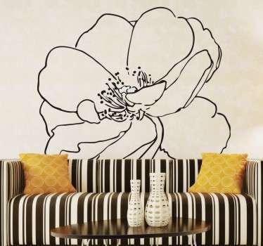 Yksivärinen kukka seinätarra