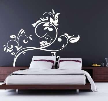 Florales Wandtattoo Kopfende Bett
