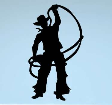 A silhouette sticker of a cowboy in traditional costume and boots, about to throw a lasso.