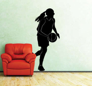 Basketball stickers - Silhouette of a basketball player in action, dribbling around the court. A sports wall decal perfect for basketball enthusiasts.