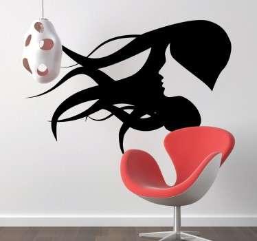 Autocolante decorativo silhueta mulher ao vento