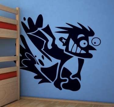 Crazy Surfer Decorative Kid's Wall Sticker