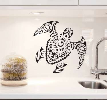 Maori style turtle sticker that will create a unique atmosphere in your home. Extremely long-lasting material. Custom made.