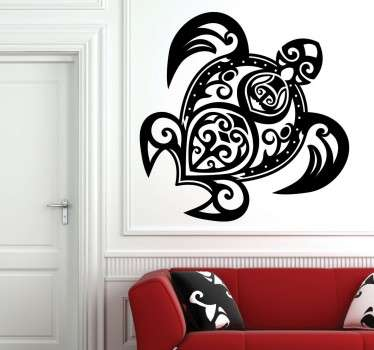 Sticker of a turtle formed with a tribal pattern, that will make the walls of your home unique.