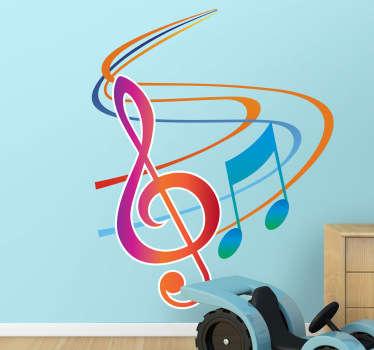 Colorate note muzicale de perete autocolant