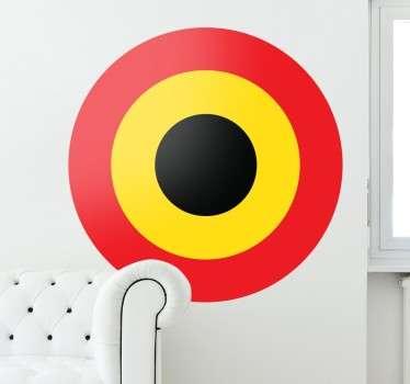 Sticker décoratif représentant le drapeau de la Belgique au coeur d'une cible.