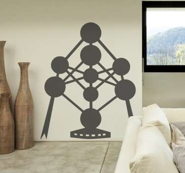 Wall decal with the iconic monument of the Atomium, a building in Brussels in Belgium.