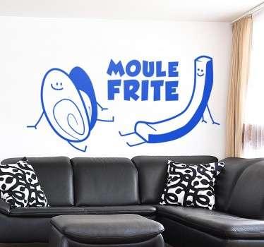 Sticker humoristique représentant le célèbre moule frite en version cartoon.