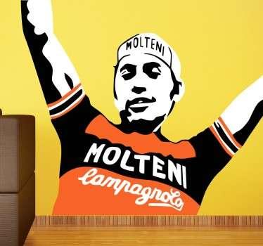 Vinilos de ciclismo con un original retrato del gran campeón belga Eddy Merckx.