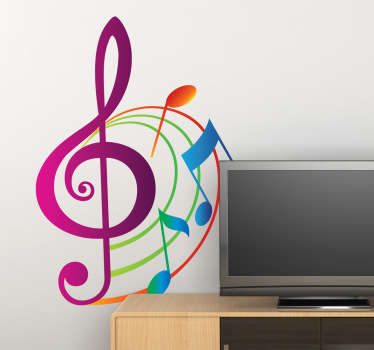 A superb music wall sticker illustrating colourful musical notes in a beautiful pattern! A vibrant musical decal to bring some life and colour to the walls of your home, classroom or music studio. This gorgeous pink, orange, green and blue sticker is just what your home decor is missing.