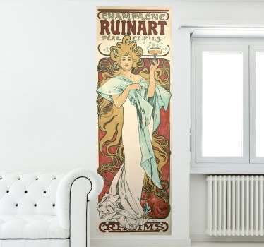 Modern sticker of a billboard poster with the work of Czech painter Alfons Mucha.