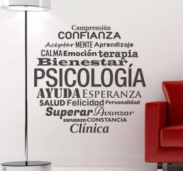 Vinilo de textos con una serie de conceptos perfectos para decorar gabinetes de psicología.