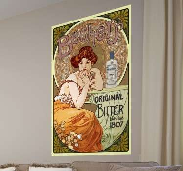 Sticker with an elegant Art Nouveau poster to give a classic atmosphere to your home.