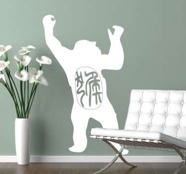 If you're into astrology, this is the wall sticker for you! Featuring the silhouette of a gorilla and Chinese text