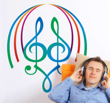 Autocollant notes musique couleur 80