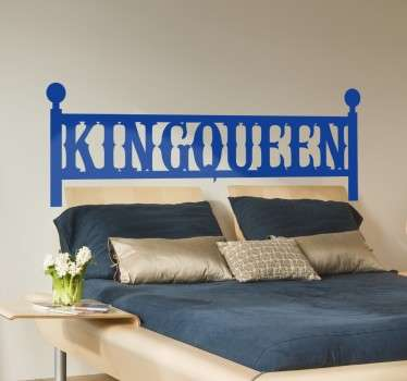 Wall sticker decorativo testiera con la scritta King Queen. Decora la tua camera da letto in modo originale e romantico .