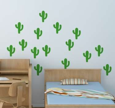 Wall sticker decorativo per bambini che raffigura  set di stickers con dei piccoli cactus colorati.