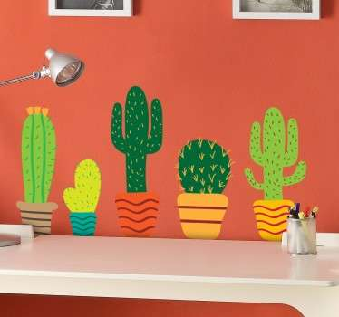 Kleurrijke Muursticker Cactussen in Bloempot
