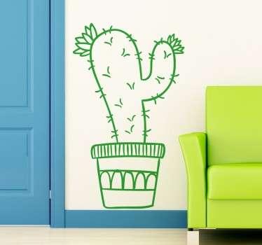 Vinilo decorativo ilustración cactus maceta
