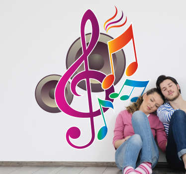 Vinilo decorativo musical. Adhesivo en el que dos altavoces emiten notas de música y un clave de sol de colores.