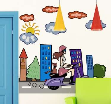 A detailed wall decal of a city scape with a young woman whizzing through on her scooter, accompanied by her cat.