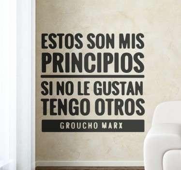 Vinilos de humor con una frase muy divertida de Groucho Marx, para cinéfilos amantes de los films clásicos.