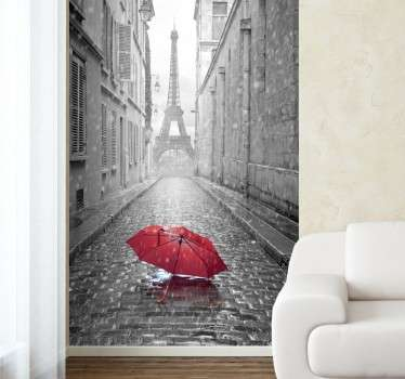 A spectacular decal of a rainy Parisian street with a view of the Eiffel Tower at the end.