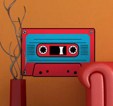 Decorative vintage cassette with red in the edges and blue in the middle. A classic wall decal to decorate your walls.