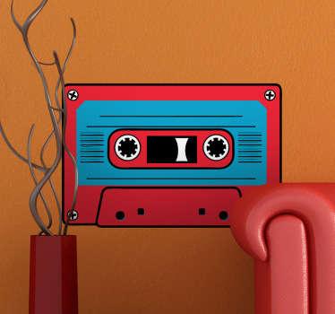 Sticker décoratif cassette rouge et bleue