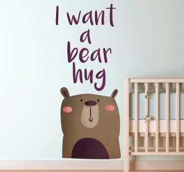 Vinilo infantil abrazo oso
