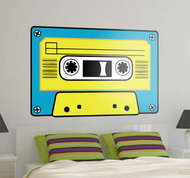 A vintage yellow and blue cassette sticker . A retro wall decal to decorate your bedroom and obtain the look you wish!