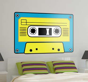 Naklejka dekoracyjna niebiesko-żółta kaseta