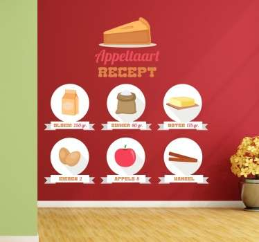 Een originele muursticker van het recept voor appeltaart! Niet zomaar een recept maar een originele met allemaal plaatjes!
