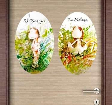 Adhesivos para señalización de puertas de servicios con unas divertidas ilustraciones basadas en el génesis bíblico.