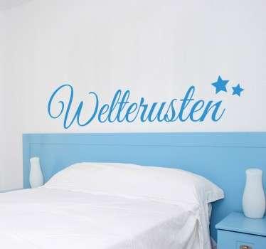 Muursticker om de slaapkamer mee te decoreren! Je ziet het woord Welterusten met 2 sterretjes in mooie sierlijke letters!